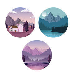 white background with set of landscapes in round vector image