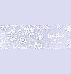 winter salesnowfall banner with sale text and vector image