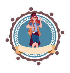 Woman backpacker travel with rucksack hiking icon vector