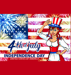 woman salute with little usa flag july 4th vector image