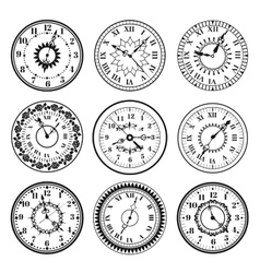 Clock watch alarms black icons vector image vector image