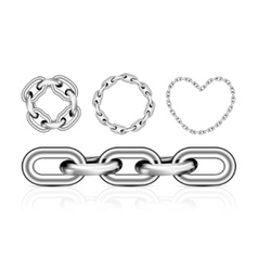 collection of metal chain parts vector image