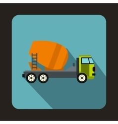 Concrete mixer truck icon flat style vector image vector image