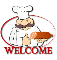 Cook with sausage vector