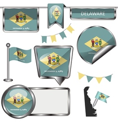 Glossy icons with delawarean flag vector