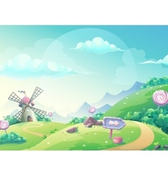 landscape with marmalade candy vector image vector image