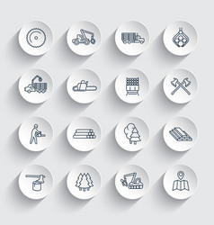 logging line icons sawmill forestry equipment vector image vector image