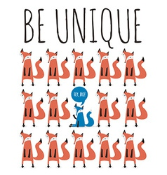 Poster with foxes Greeting card with typography vector image vector image