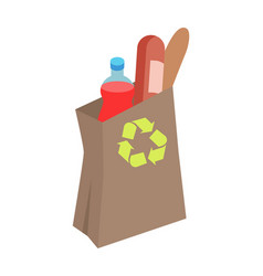 recyclable paper bag with food isometric vector image vector image