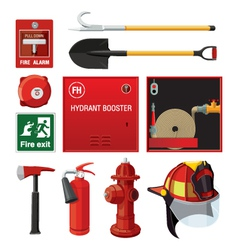Sey of fire fighting equipment vector image