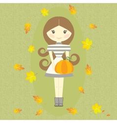Autumn Girl Holding Pumpkin Fall Symbols Leaves vector image vector image