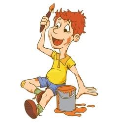 Little Kid Boy Carrying an Art vector image vector image