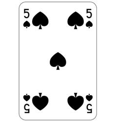 Poker playing card 5 spade vector image vector image