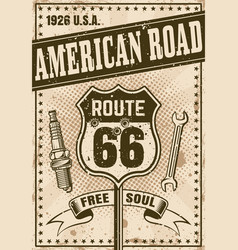 route 66 poster in vintage style vector image