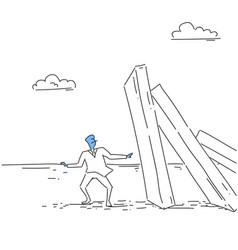 Business man standing at chart bar falling vector