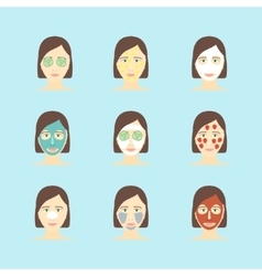Cartoon Face Mask Skincare Set vector image