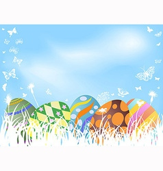 color painted easter eggs background vector image vector image