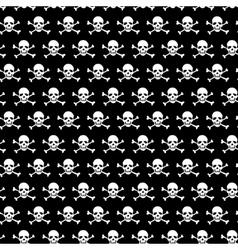 Crossbones and skull pattern on black background vector image
