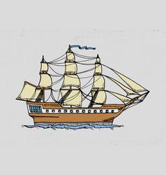 cruise ship or sailboat to deep sea vector image