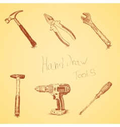 Hand-draw tools set vector image vector image