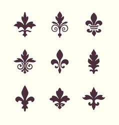 heraldic symbols fleur de lis set vector image