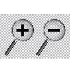 magnifying glass plus and minus vector image vector image