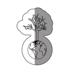 monochrome sticker of world with tree without vector image
