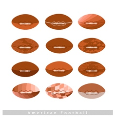 Set of Brown American Footballs on White vector image vector image