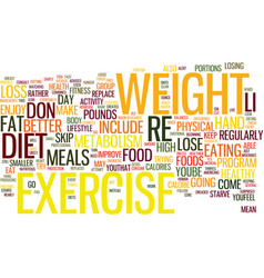 the combined benefits of diet and exercise text vector image vector image