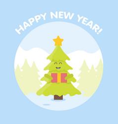 christmas tree cartoon characters new year card vector image