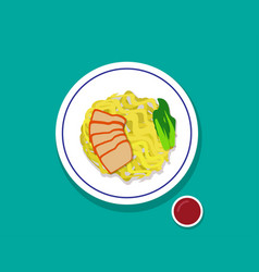 dry egg noodle soup with red roast pork top view vector image
