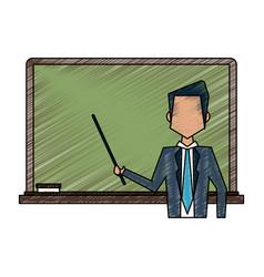 school blackboard with teacher vector image vector image