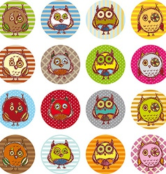 Set of funny owl sketch doodle vector image vector image