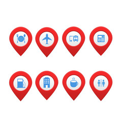set of location map markers with place vector image