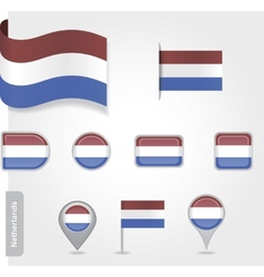 The Netherlands flag - set of icons and flags vector image