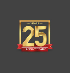 25 years anniversary logo style with golden vector