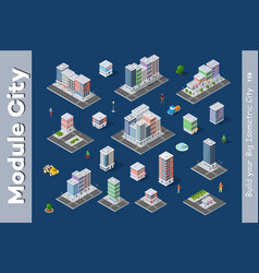 a set of isometric city vector image