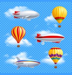 Airship icon set vector