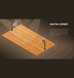 Arena basketball concept banner isometric style vector