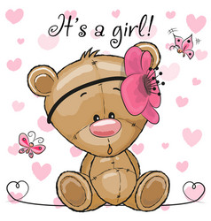 Baby shower greeting card with teddy bear girl vector