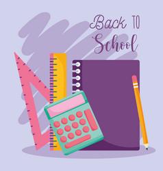back to school notebook calculator pencil vector image