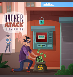 bank hacking cartoon vector image