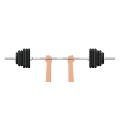 barbell with metal weights vector image