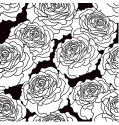 Black and white graphic roses seamless pattern vector
