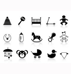 Black baby icons set vector
