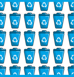 Blue can trash with recycling symbol background vector