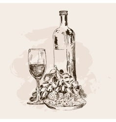 Bottle of wine glass grapes and snacks vector image