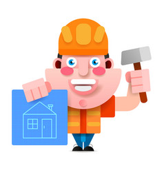 builder in a helmet with a hammer and a vector image