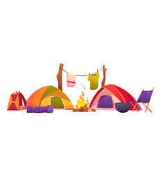 camping and hiking equipment tents and tools set vector image