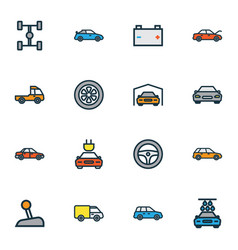 Car icons colored line set with sport gear tesla vector
